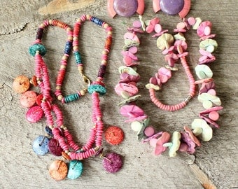 set of bright pastel necklaces + pin set . pink pastel wood necklace . 1980s pastel shell necklace, chunky multistrand dyed coconut shell