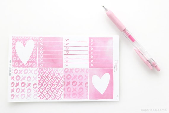8 x full boxes, planner stickers, hand painted, watercolor, pink, love hearts, hearts, XOX1
