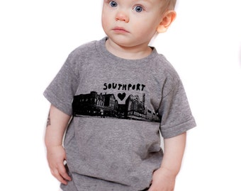 Southport Love Kids Tshirt in gray - FREE SHIPPING - Megan Lee Designs, Chicago, Music Box