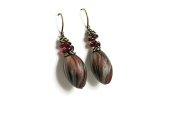 Wire Wrapped Dangle Earrings - Handmade Polymer Clay