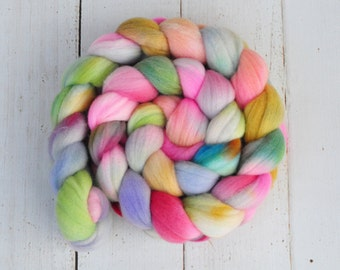 Hand Dyed Merino Top Wool Roving - Hand Painted - Spinning - Felting - Candy Shop - 4.2 Ounces