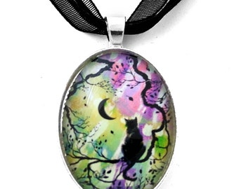 Trendy Zen Cat Necklace New Moon Silhouette in Aurora Borealis Boho Handmade Art Pendant Jewelry