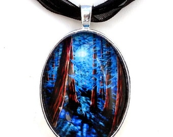 Redwood Trees by a Stream Blue Moon Handmade Art Pendant Jewelry Laura Iverson