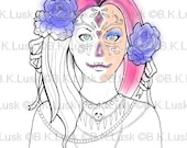 B. K. Lusk - Digital Download Digistamp- Clipart Candy Skull Day of the Dead Coloring Page - Tattoo Flash Scrapbook Craft Art
