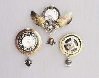 3 Steampunk Fridge Magnets -  beetle bug watch parts gears - recycled vintage junk and jewelry
