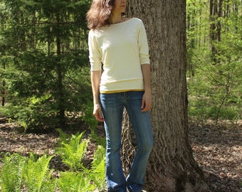 hemp dolman sleeve batwing shirt - 100% hemp and organic cotton - size extra small