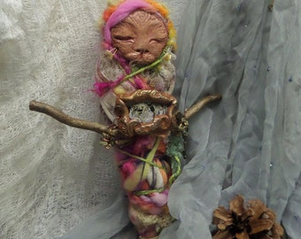 Sekhmet, cat spirit doll, Nature Spirit, Art doll,Kitchen Witch, Rustic Home Décor, Prosperity Art Doll, OOAK Art Doll Assemblage.