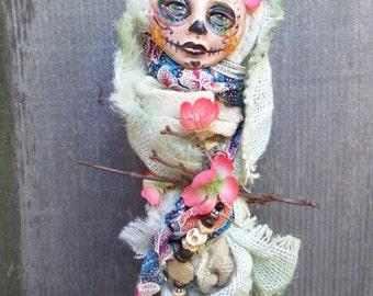 Little kitchen witch, Sugar Skull, art doll, Ooak art doll, Day of the Dead, wall decor, Griselda Tello, Original dolls