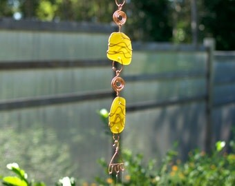 Sun Catcher Sea Glass Wind Chimes Brass Chimes beach glass stained glass windchime