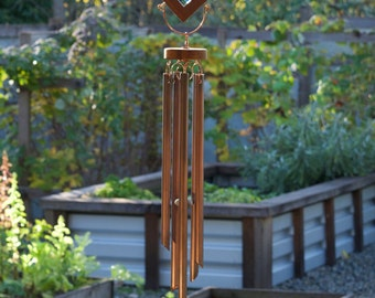Wind Chime Stained Glass Kaleidoscope Sun Catcher with Large Copper Chimes sea glass beach glass windchimes