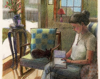Woman Reading with a Cat on a snowy Day Original Art Print Belinda Del Pesco