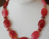 Pink Fire Agate Necklace, Earrings