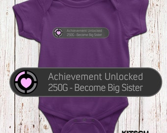 Achievement unlocked: Become a Big Sister T-shirt - Big Sister Baby Bodysuit - Cute Pregnancy Announcement - Xbox Inspired - AR-112