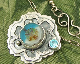 """Czech Glass bezel set Bead """"Water Flower"""" Sterling Pendant with Blue CZ stone - OOAK"""