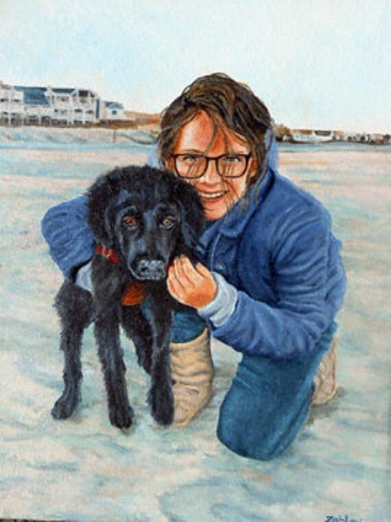 Custom Portrait Painting with Dog