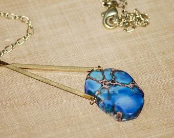Vivid Blue Stone Necklace Slab Dyed Azure Blue Brass Bar Framed Modern Urban Natural
