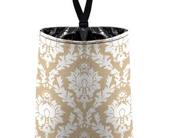 Car Trash Bag // Auto Trash Bag // Car Accessories // Car Litter Bag // Car Garbage Bag - Light Tan Beige Damask // Car Organizer