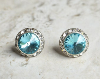 The Mirabelle- Light Turquoise Swarovski and Rhinestone Post Earrings
