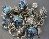 PMC Recycled Silver Metal Clay - Lampwork Charm &  Chain Link Bracelet RESERVED