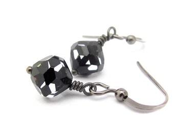 Swarovski Crystal Earrings, Swarovski Cosmo Jet Crystal Earrings, Tuxedo Earrings, Black Earrings, Gunmetal Gray, Wedding Bridal Bridesmaid
