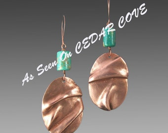 As Seen on Cedar Cove Bohemian Folded Copper Earrings with Turquoise Handmade by Laura Bracken