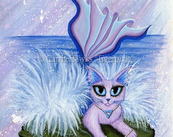 Mermaid Cat Art Elemental Water Cat Painting Mercat Ocean Sea Elements Fantasy Cat Art Print 8x10 Cat Lovers Art