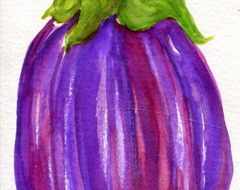 Eggplant Eggplant Watercolor Painting Purple Kitchen Food Art Striped Purple Eggplant Kitchen