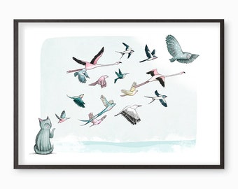 Cat Birds illustration giclee art print - Let it Go - Many sizes available A3 / A4 / A5 / 8 x 10 fine art print (with free badge)
