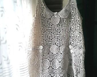 Lacy Top, Vest, Vintage Doily, Lace, Cream, White, Vintage Buttons, Boho, Rustic, Romantic Clothing