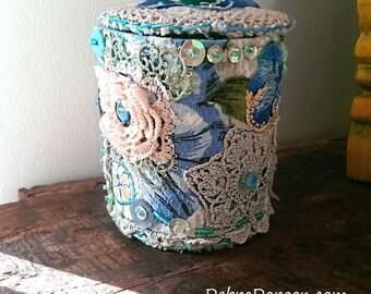 Textile Container, Vintage Lace, Pink, Blues,  Storage, Vintage Textiles, Blue, Rustic Decor, Boho Decor