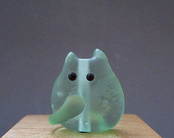 Beach Glass Kitten Bead Handmade Lampwork - Llewellyn Itty Bitty FatCat