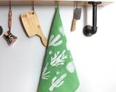 Light Green Hand, Dish, and Tea Towel with Cactus Hand Screen Print