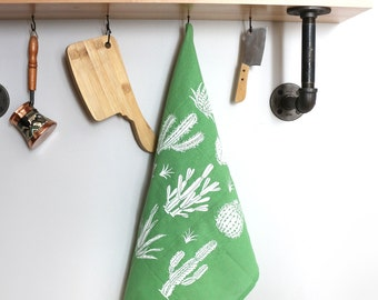 Light Green Hand, Dish, and Tea Towel with Cactus Hand Screen Print