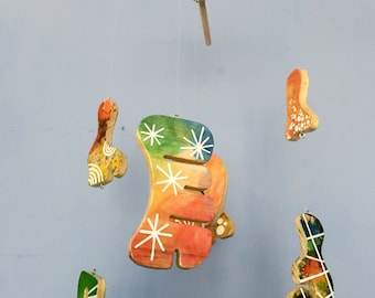 Wooden Baby Mobile - Hand Painted - One of a Kind - Free Form Series 01