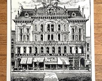 Detroit Opera House & J. L. Hudson's Screen Print Poster. 1881 Detroit historic art print, 19x25 silkscreen print. Architectural print gift.