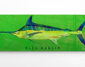Husband Gift- Fish Gifts for Dad- Gifts- Blue Marlin Art Block- Saltwater Fish Art- for Beach House- Art on Wood- Unique Gift Ideas