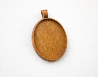 Large fine craftsmanship hardwood pendant blank - Mahogany - 36 x 46 mm - Oval - (A1c-M)