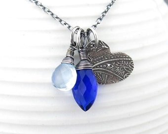Long Silver Necklace Pendant Cobalt Blue Gemstone Necklace Blue Necklace Silver Pendant Necklace Gift for Women Handmade Jewelry - Duets