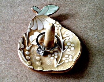 Ceramic Pear Ring Holder Dish edged in gold