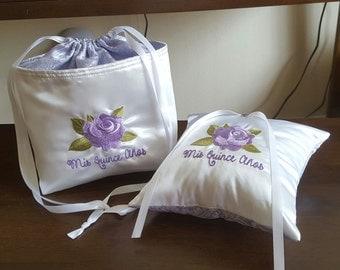 Quinceañera Card Bag and Tiara Pillow Set