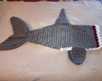 Shark Blanket-Shark Attack-Sharknado-Cocoon-Crochet-CHILD Size -Ready To Ship-Shark Week