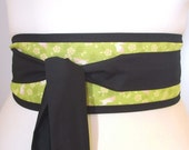 Obi belt 'Green Japanese rabbits and blossom' by loobyloucrafts - Green obi belt, geisha japanese style kimono belt sash