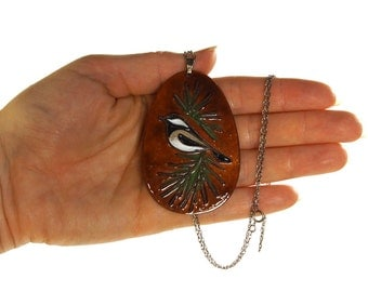 70s Enamel Bird Necklace / Vintage 1970s Kay K Worz Signed Artisan Pendant on Sterling Silver Chain / Chickadee