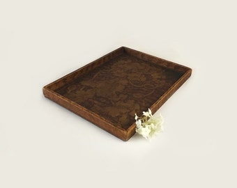 Antique Pryography Wood Tray with Flowers, 1909 Wood Burning Art