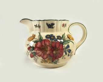 Villeroy & Boch Creamer, Vintage Old Abbey Ware Genua Ceramic Floral Cream Pitcher, Cottage Chic Decor