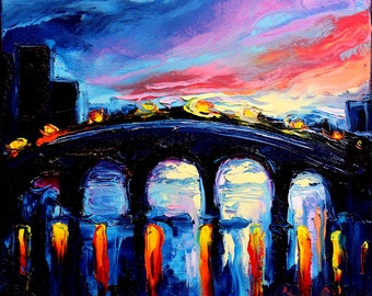 Oil Painting - Abstract Landscape Painting - Sunset Art - impasto original Art by Aja - 12x12 inches The Bridge