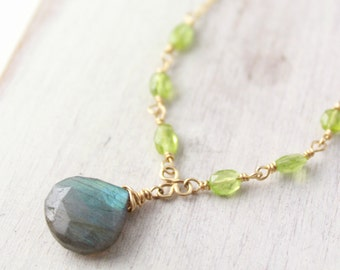 Peridot and Labradorite Gold Necklace
