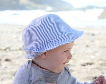 Grey Stripe Baby Boy Fedora Sun Hat