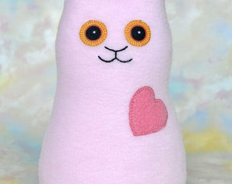 Handmade Rabbit, Stuffed Animal Plush Doll Art Toy, Hug Me Bunny, Personalized Hang Tag, Light Pink, Medium Pink Fleece, 9 inch, Ready-made