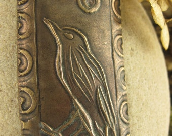 The Raven Pendant in Bronze,  Bird Crow Jewelry, Irish Celtic Jewelry, Moon, Necklace